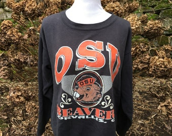 OSU Sweatshirt // XL // Large // Sweater // Beavers // Oregon State University // Black // Orange // Beavers  // Vintage // 80's // 90's