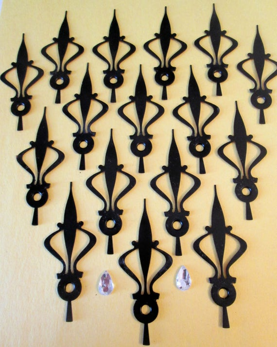 16 Vintage Black Painted Thick Copper Fancy Clock Hour Hands  - Make Clocks, Jewelry, Steampunk Art and Etc...  3 1/4""