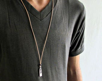 Geometric necklace for men- men's necklace with a silver plated Geometric pendant and a black cord, adjustable