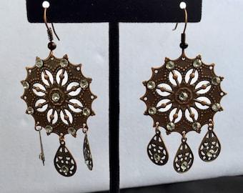 Copper Filigree & Swarovski Chandalier Earrings