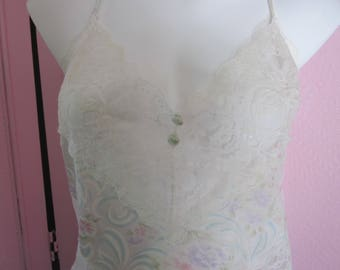 "1980s White Lace and Sheer Nylon Teddy by ""Vassarette,"" Size XL"