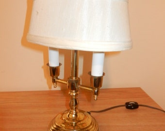 Vintage Brass Two Bulb Desk Lamp with an Unusual Small Oval Shade