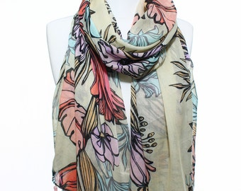 Floral Printed So Soft Tassel Scarf Lightweight Spring Summer Woman Fashion Accessory Scarves Women Gift Ideas For Her Him Mom