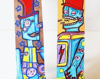 Mr. Machine and Laughing Vintage Robot Hand Painted Original Art Bookmark Pair