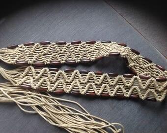 Macrame belt, large, with beads