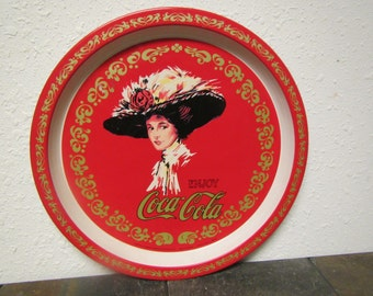 Enjoy Coca Cola Round Serving Tray , Coke Tray , Collector tray, 12  3/4 inches across , 1982 drink tray