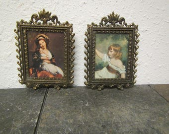 "2 vintage Onate Antique Brass Frames with pictures of a Lady and Children * 2.5 "" by 3.5"" . made in Italy* could be used for family photos"