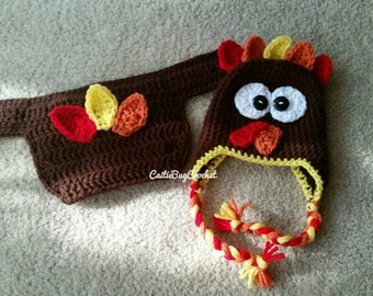 Crochet Newborn Turkey Beanie with Diaper Cover