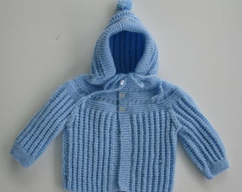 Hand Knitted   Baby  Hooded Sweater fits 3 to 6  mos .READY TO SHIP
