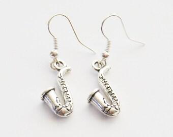 Saxophone Earrings, Sax Earrings, Saxophone Jewelry, Silver Sax Earrings, Saxophone Gift, Woodwind Earrings, Music Earrings, Music Jewelry
