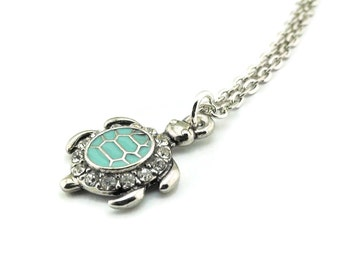 Turtle Necklace Silver Chain Beach Style