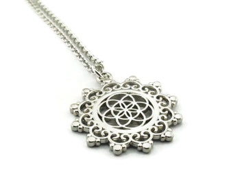 Silver Necklace Seed Of Life Necklace Flower Of Life