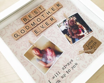godmother scrabble frame a lovely personalised scrabble frame with free photo printing also available for godfather or godparents