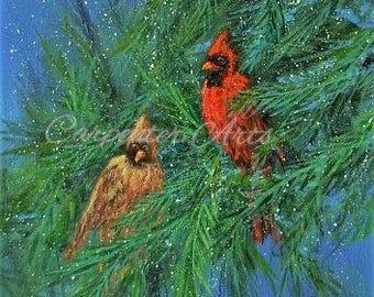 Cardinal Birds Canvas Painting