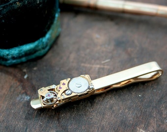 Steampunk Tie Clip with Swiss watch movement /Tie Bar /Holiday Gifts for Men / Steampunk Tie Bar / Bronze anniversary gift