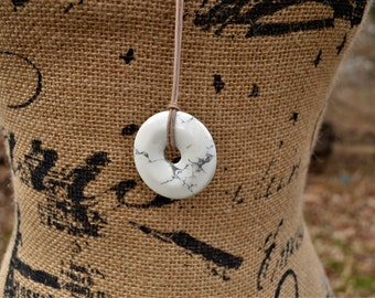 HOWLITE Donut Pendant NECKLACE--HANDMADE, One-of-a-kind