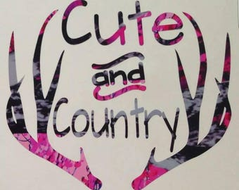 """Cute and Country Pink Camo Vinyl Decal! 5"""" Wild Love Pink Camo Pattern Country Girl Sticker Car Window Antler Deer Buck Doe Image Muddy Girl"""