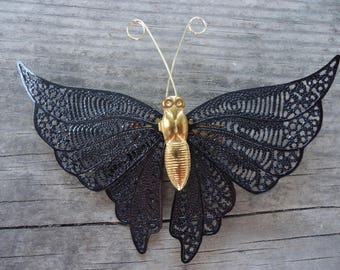 Black and Gold Butterfly Brooch