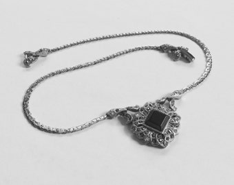 Vintage Monet Black Onyx and Marcasite Necklace * Vintage Art Deco Marcasite Necklace
