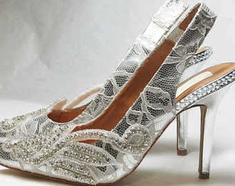 SiLVER LACE Wedding Shoes - ReBECCA COLLECTiON - US Size 7B ONLY