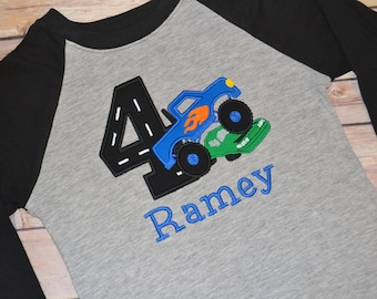 Monster truck birthday shirt, boys birthday shirt, toddler birthday outfit, first birthday outfit, monster truck party, raglan shirt