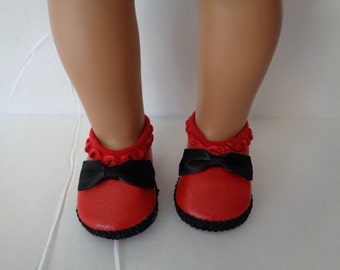 "Red and Black Doll Shoes for 18"" Dolls-- Shown on my American Girl Doll"