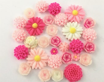 30 flower cabochon flower mix , pink and white assorted sizes,#F187