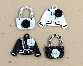 4 purse jacket charms ,black and white mat enamel  / 21mm#Ch185