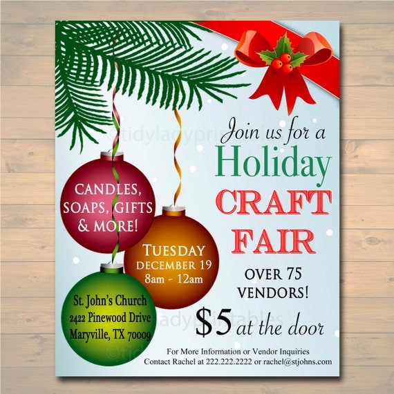 Custom holiday craft fair flyer christmas craft show for Free craft show listings