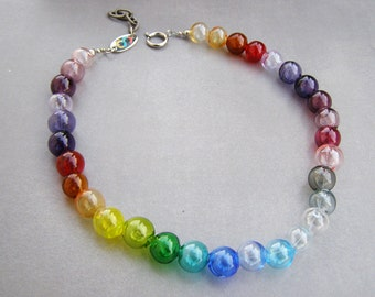 Bubble glass necklace-Lampwork glass bubblesù- rainbow necklace