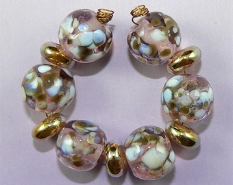 Handmade Lampwork Glass bead set of 11 beads Silver Glass gold and pink SRA
