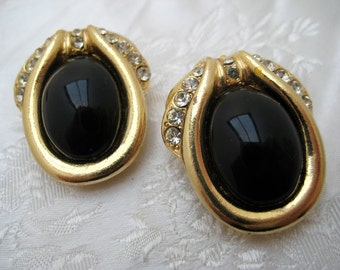 Vintage 1980s Black & Goldtone Clip On Earrings GLAMOUR!