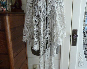 Reserved for *Mardi* Antique Victorian Floral Irish Crochet lace Capelet Shawl Top Blouse Jacket Wedding Bridal