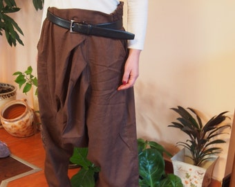 Loose Linen Pants, Low  Bottom  Pants, Drop Crotch Harem Pants, Extravagant Pants, Oversize Trousers & Nara P005