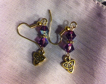 Amethyst and gold plated pierced earrings with Celtic knot Triad charms.