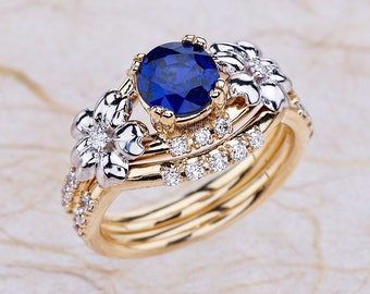 Unique Engagement Set Blue Sapphire Engagement Ring 14K Two Tone Gold Lab Grown Blue Sapphire Ring And Band