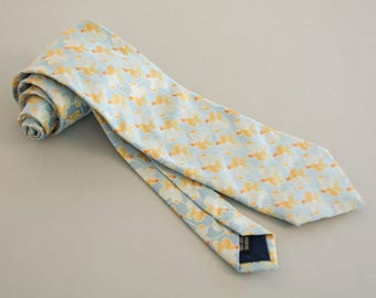 Floral Kolte Tie - Pale Blue Baby Blue and Gold Floral Silk Jacquard Necktie by Kolte Made in Italy Italian Silk Tie Summer Tie Paisley