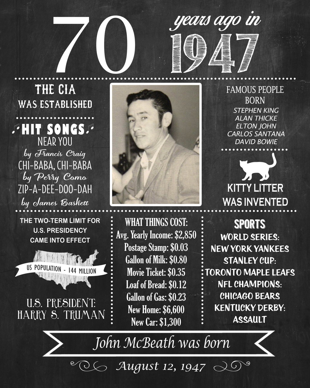 Items Similar To 1947 Birthday Trivia Game: 70th Birthday Chalkboard Poster 1947 Birthday Poster 1947