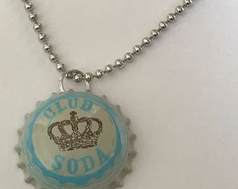 Club Soda Handmade BOTTLE CAP necklace with ball chain