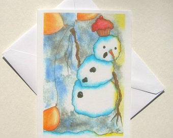 NEW - Set of 5 Blank Inside Note Cards - Simply Floating Through The Wait - Snowman, Note Card, Art Card