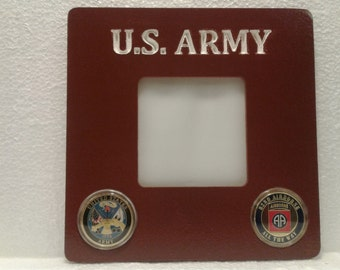 U S ARMY Photo Frame with mounted Challenge Coins