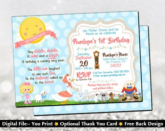 Mother Goose Birthday Invitation with FREE Back Design!