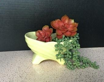Midcentury Green Ceramic Planter, Vintage Green Planter on on Feet