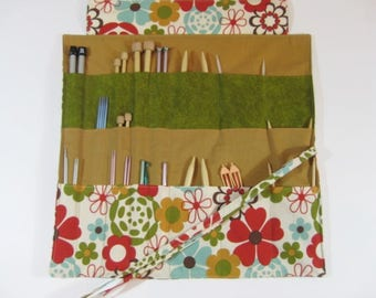 Knitting Needle Case, Floral Knitting Needle Organizer, Circular Knitting Needle Case