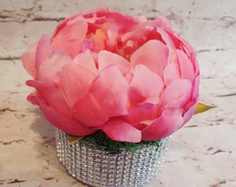 Hot Pink Peony Bloom Arranged in a Blinged Out Metal Container