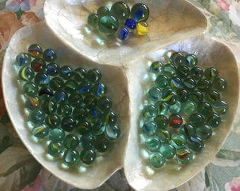 Vintage Collection of 80 Plus Glass Cats Eye Marbles