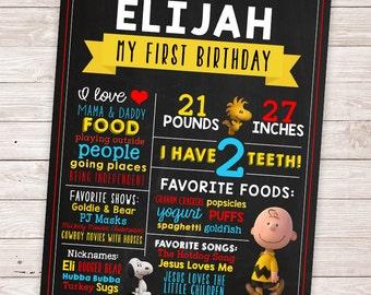 PRINTABLE Charlie Brown Birthday Chalkboard Sign - Snoopy Birthday Board