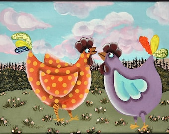 Original Chicken Painting. Whimsical Painting. Folk Art. Canvas. 12x9, Collectible, Art,