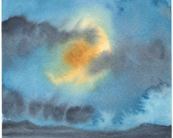 Moon Rise Over the Sound - Original Watercolor Landscape Painting - Imaginary Landscape