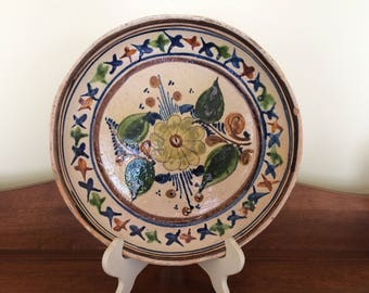 "Mexican Art Pottery  9 1/2"" Earthenware Plate / Dish"